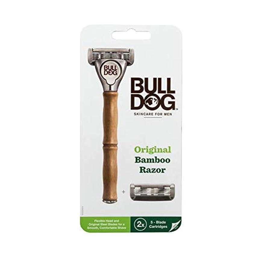 内向きキャプテン性格Bulldog(ブルドッグ) ブルドッグ Bulldog 5枚刃 オリジナルバンブーホルダー 水に強い竹製ハンドル 替刃 2コ付 男性カミソリ ホルダー(1本)、替刃2コ付き(内1コ本体装着済み)