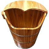 フットマッサージャー?フットバス フットバスバレルを高める肥厚男性と女性の足のバレルの大人の家庭の前髪の足の治療燻蒸の足のバレルのバレル (Color : Wood color, Size : 38 * 48cm)