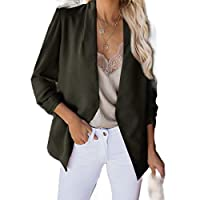 Kankanluck Womens Wild Solid Fall Winter Blouse Fitted Long-Sleeve Outwear Army Green 2XL