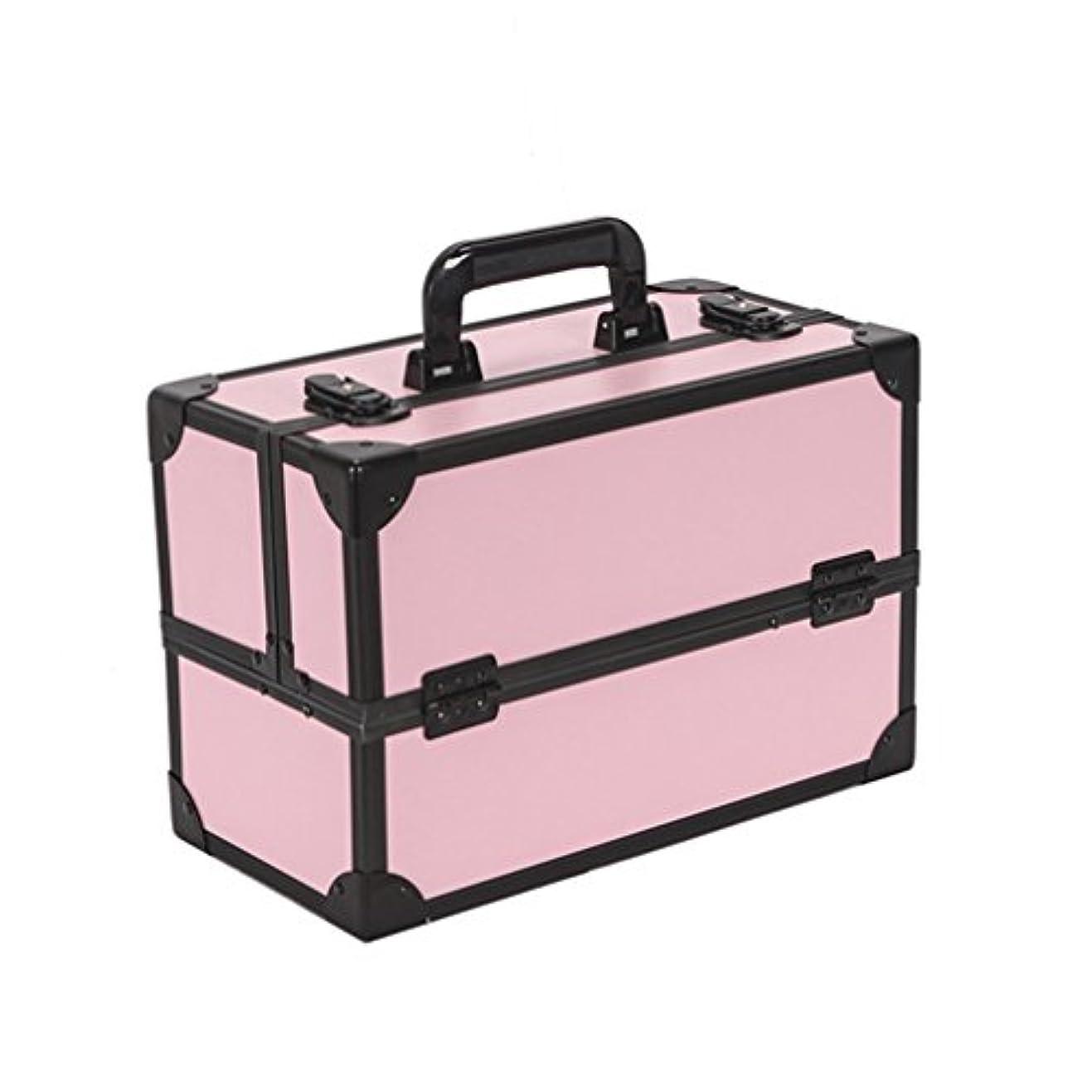 自己ではごきげんようハンバーガー{ツネユウ}メイクボックス 大容量 コスメボックス プロ用 化粧品収納 ジュエリー アクセサリー メイク道具 収納ボックス 3段収納トレイ 携帯ハンドル付 メイクブラシ 収納力抜群 かわいい ピンク
