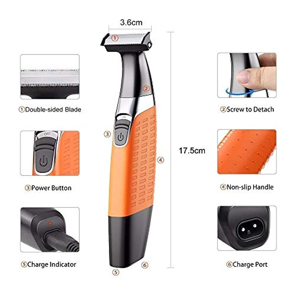 傾斜楽しむリーク洗えば洗える充電式電動カミソリ、理容機、ボディ除毛カミソリ、4本のガイドブラシは、男性用と女性用がある
