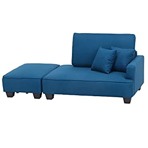 アイリスプラザ ソファー 2人掛け ロータイプ カウチソファー あぐら クッション付き ブルー 幅110×奥行80×高さ68cm 34137