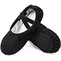 STELLE Girls Canvas Ballet Slippers Flats, No Drawstring Dance Shoes for Toddler/Kid