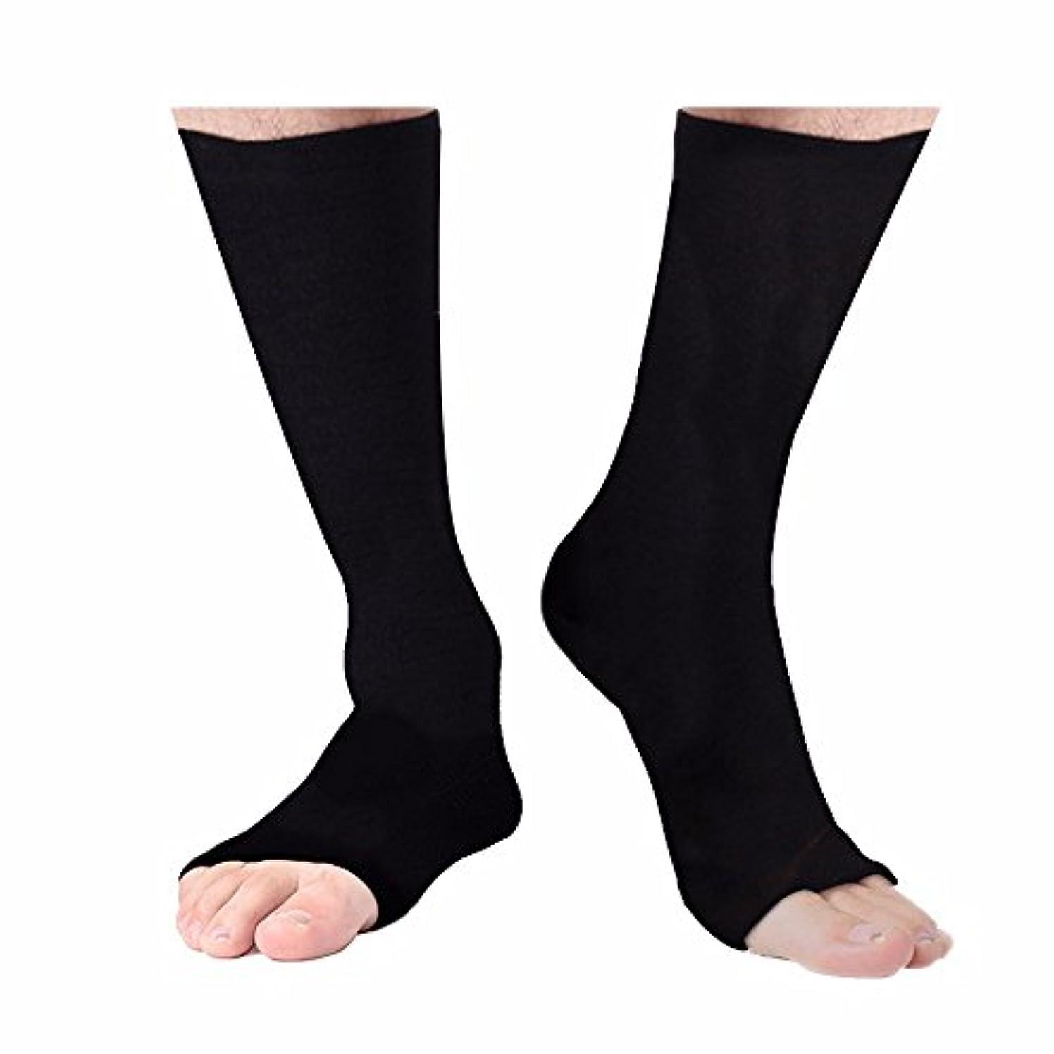 降臨好きである八百屋さんYartar 着圧ソックス オープントゥ 段階圧力 ハイソックス 膝下 むくみ対策 男女兼用 Open Toe Pressure Socks (ブラック, L:35cm)