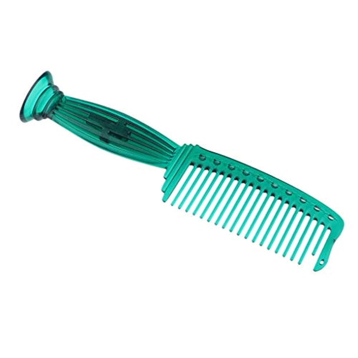 ブル避難睡眠SM SunniMix ヘアコーム ヘアブラシ ワイド歯 プラスチック プロ ヘアサロン 理髪師 全5色選べ - 緑