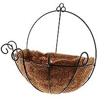 B Baosity 装飾的 バスケット プランター バルコニー 装飾 ぶら下げ 錬鉄製 鉢植え 全2サイズ - L