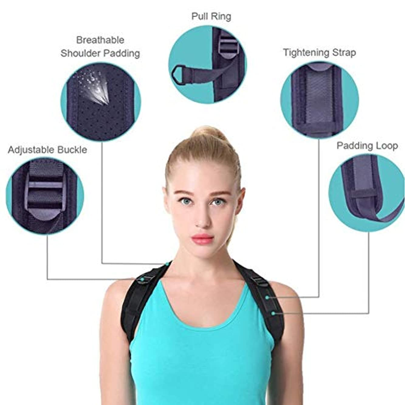 ライトニング夜明けに新しさ調整可能な装具姿勢補正器黒バックショルダー補正器サポートブレースベルト用男性女性子供 b823 (Color : Pu-bust (25-50 inches))