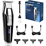 Hair Clippers for Men, RENPHO Cordless Clippers Hair Trimmer,Hair and Beard T-blade Electric Shaver for Home, 4-Speed Motor, Outliner Grooming, LED Display, Rechargeable Shaver for Barber