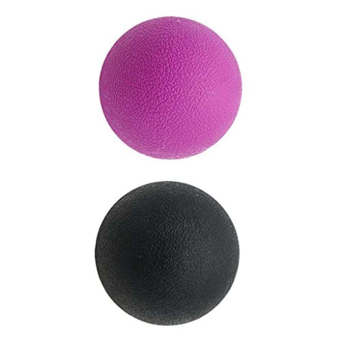 サイズ非公式禁輸Kesoto 2個 マッサージボール ラクロスボール 背部 トリガ ポイント マッサージ 多色選べる - ブラックパープル