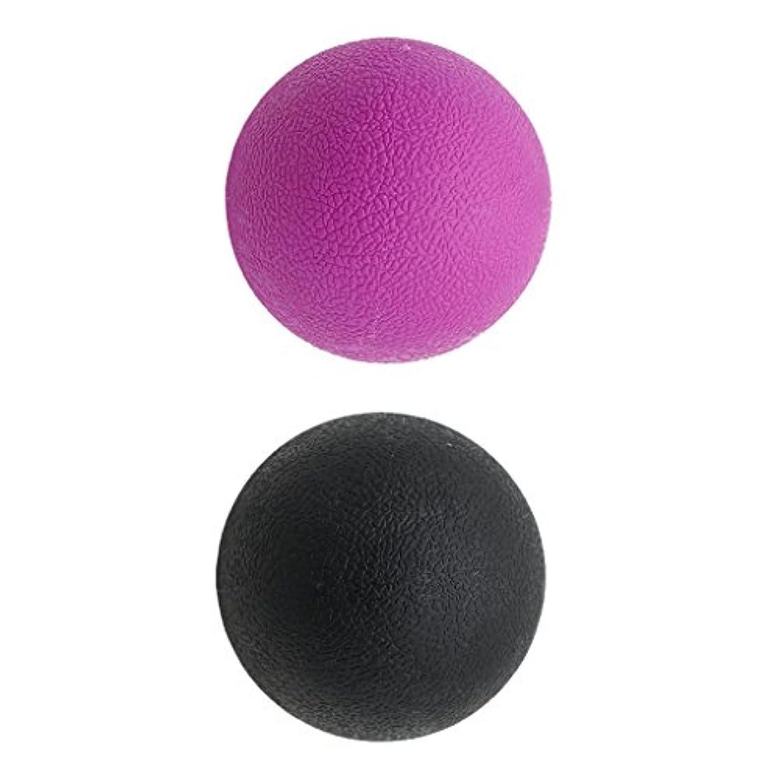 狐完了2個 マッサージボール ラクロスボール 背部 トリガ ポイント マッサージ 多色選べる - ブラックパープル