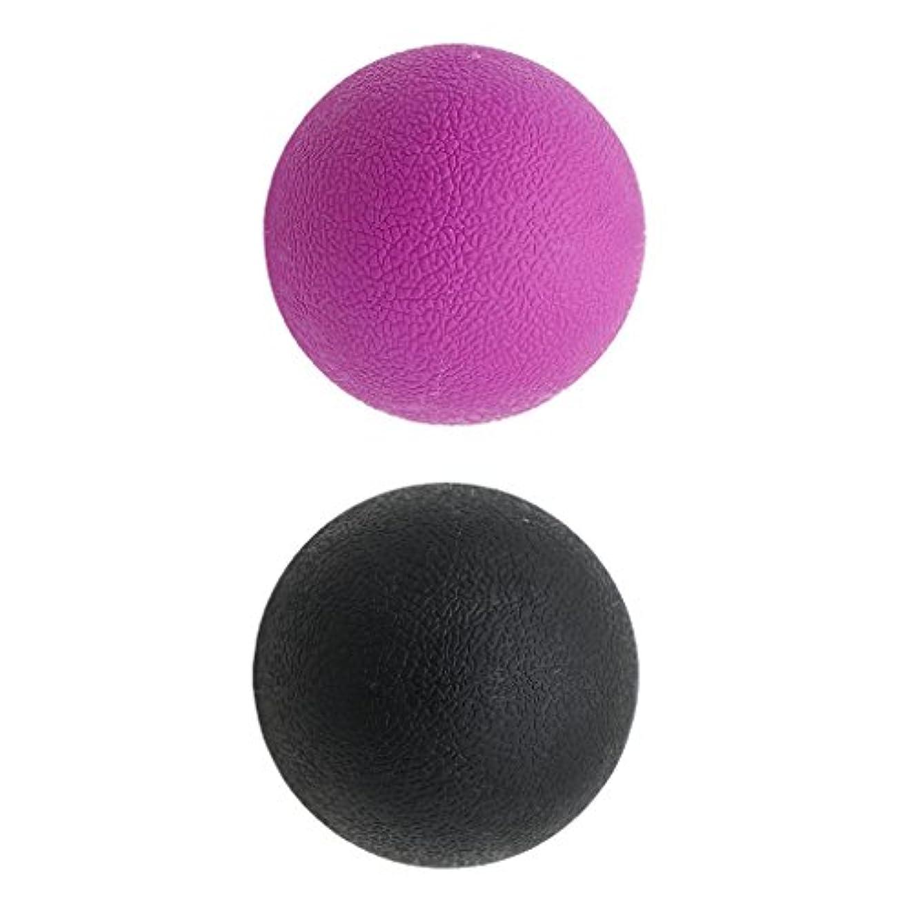 倉庫オークランド気づくなるKesoto 2個 マッサージボール ラクロスボール 背部 トリガ ポイント マッサージ 多色選べる - ブラックパープル