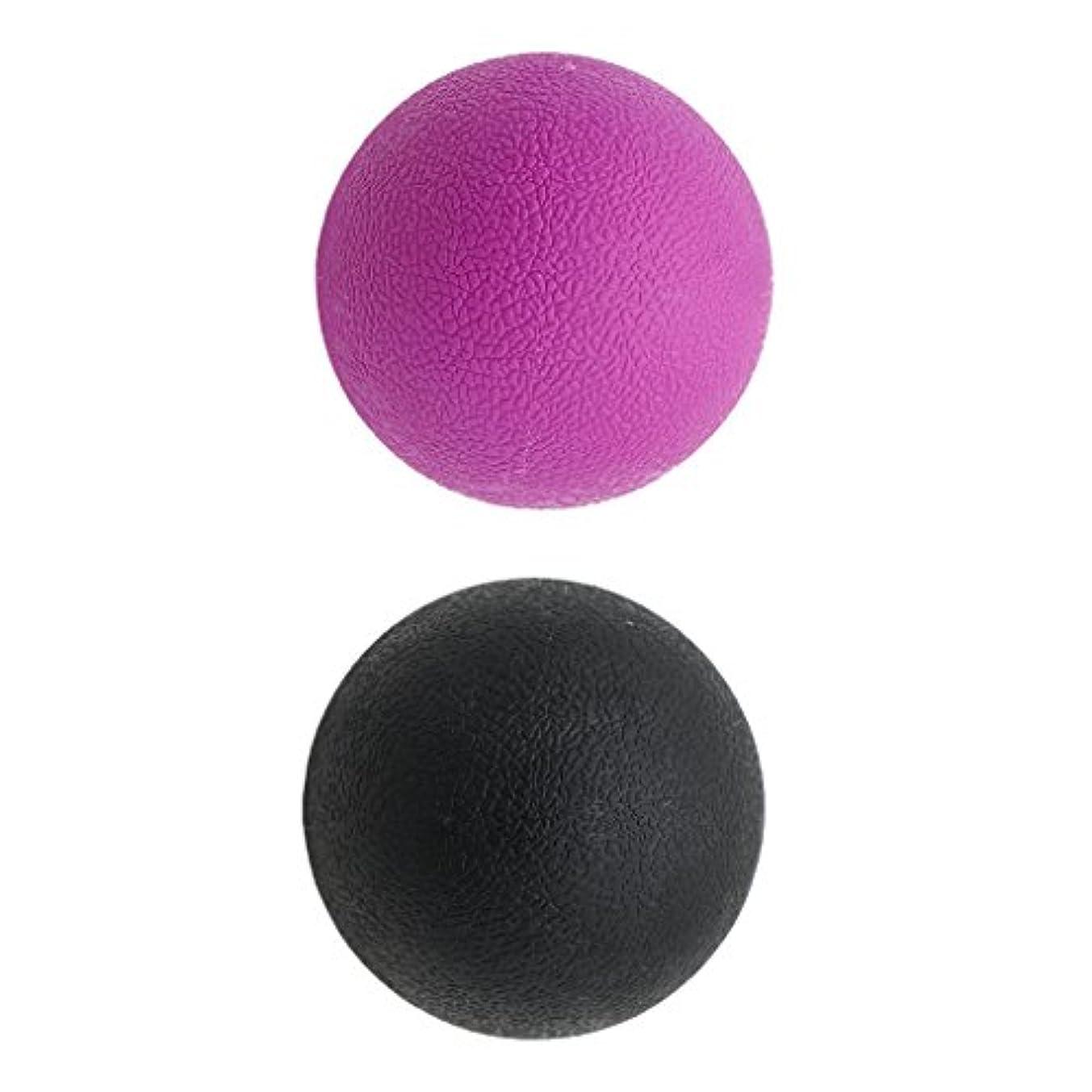 承認する完璧人形Kesoto 2個 マッサージボール ラクロスボール 背部 トリガ ポイント マッサージ 多色選べる - ブラックパープル