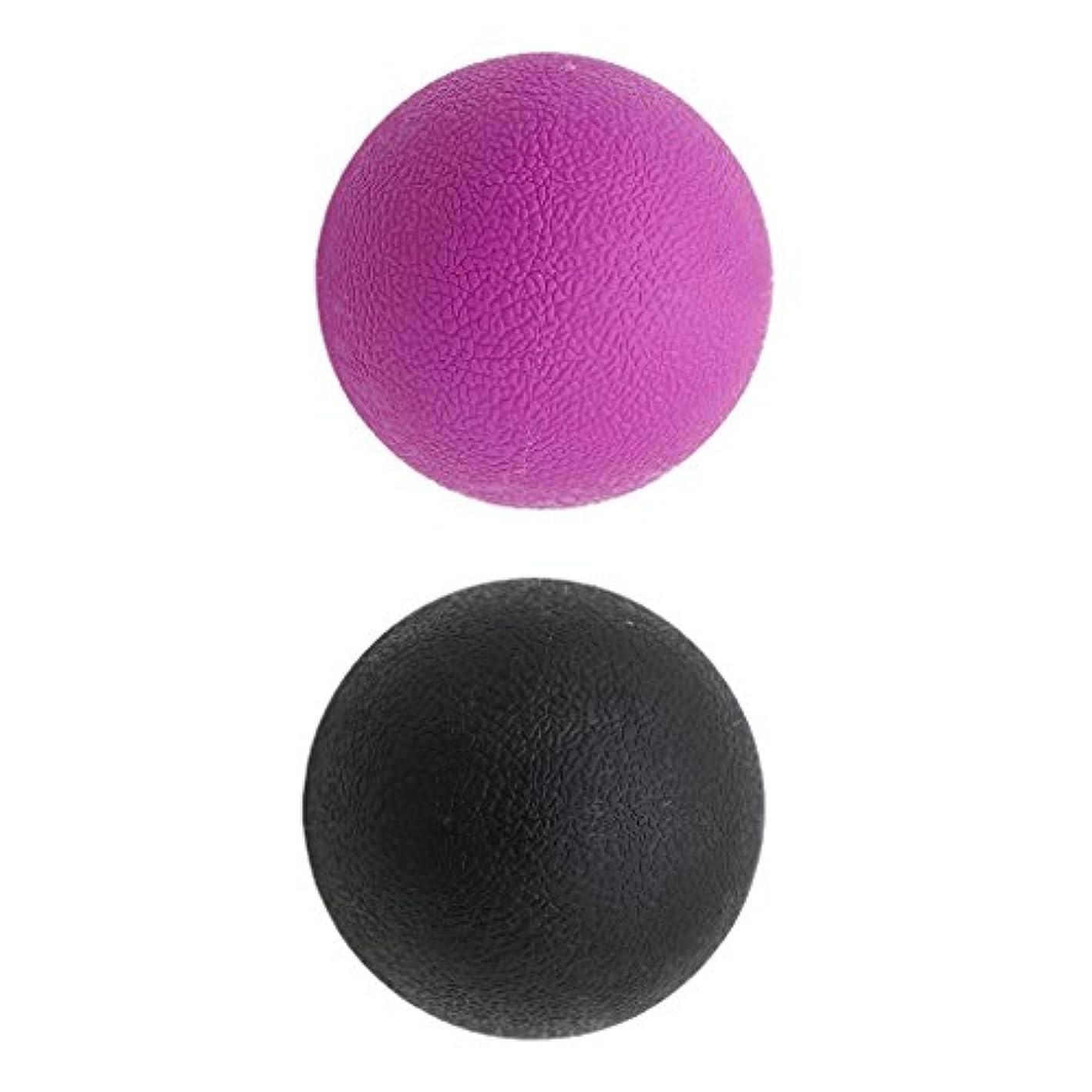 メンタリティ運命蚊Kesoto 2個 マッサージボール ラクロスボール 背部 トリガ ポイント マッサージ 多色選べる - ブラックパープル