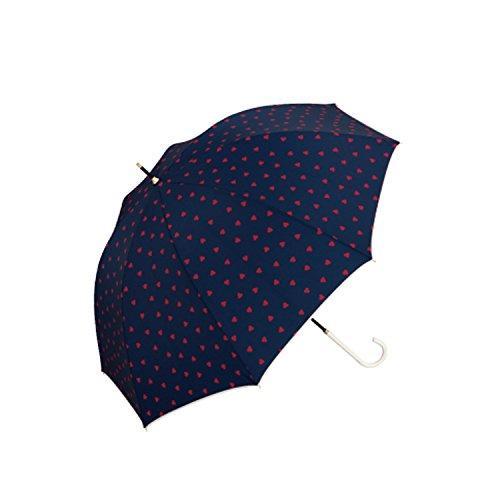 傘 レディース ワールドパーティー W.P.C おしゃれ 長傘 かわいい 軽量 手開き 花柄 撥水 雨傘 赤 UVカット 晴雨兼用 日傘 かさ カサ 女性用 wpc8329-05 wpcstandard 402405NVジャギーハート/紺