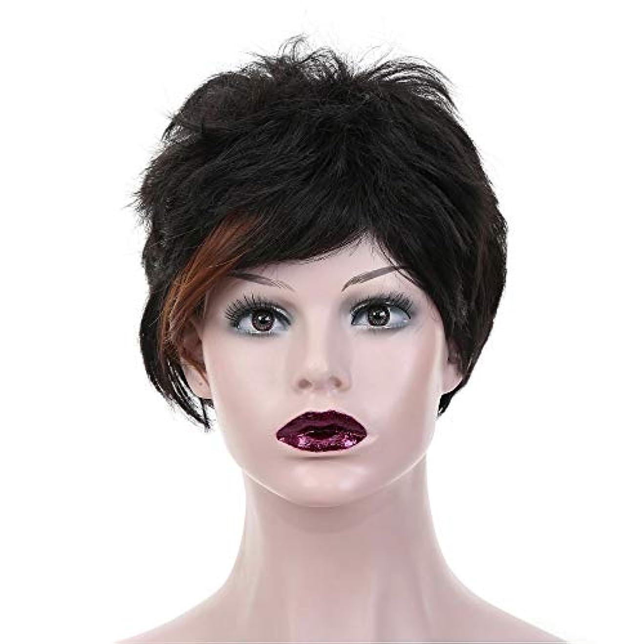 精査する顔料バルクYOUQIU 女性のボブ?ショートウィッグブラックカラーHightlightsブラウン熱Cospalyパーティーヘアウィッグのかつらをレジスト (色 : 黒)