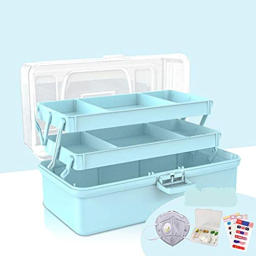 パドルカロリー経営者TXOZ 薬箱、透明カバー救急箱救急箱、三段段医療収納ボックス (Color : Blue, Size : 31cm×18m×16cm)