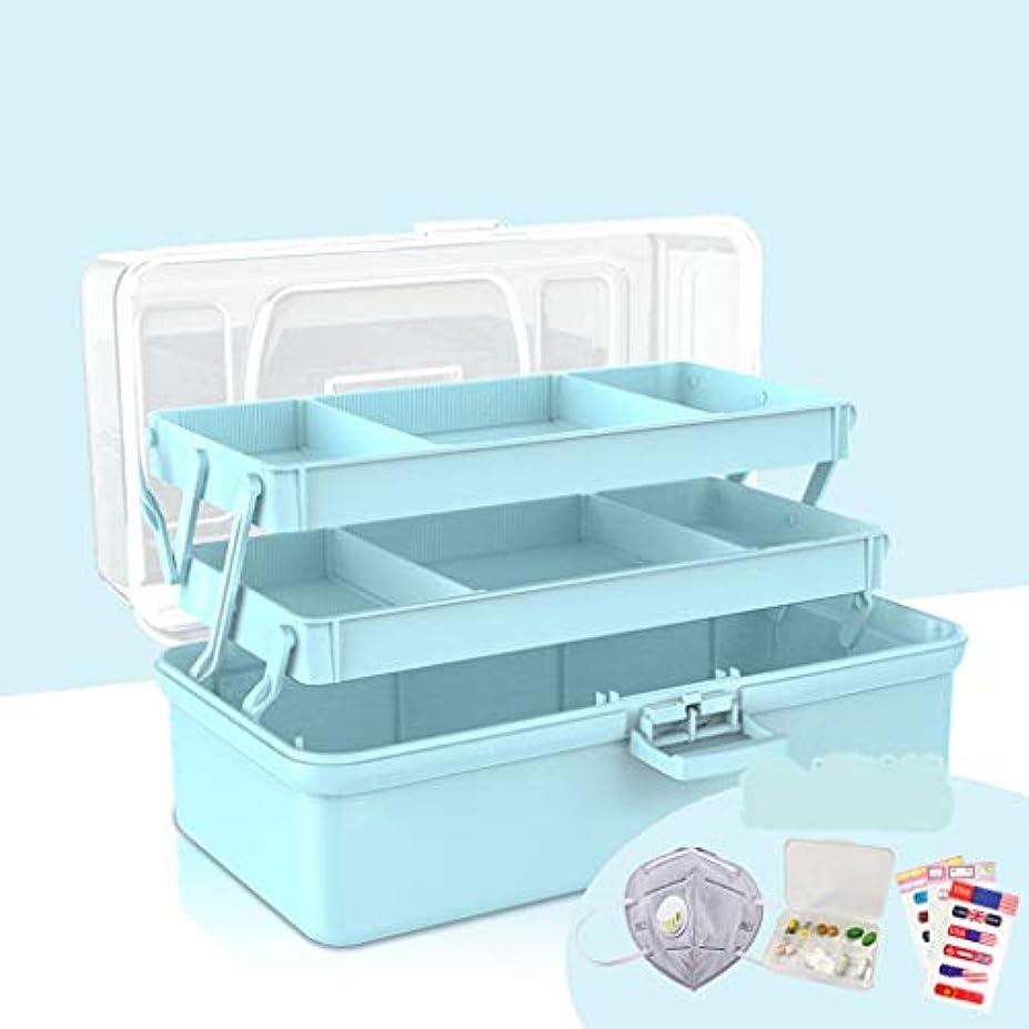 アジア人数学桃BBJOZ 薬箱、透明カバー救急箱救急箱、三段段医療収納ボックス (Color : Blue, Size : 37cm×18cm×19cm)