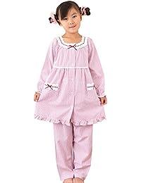 ケーズアイ 子供パジャマ女児用 綿100%さらっとした肌触り リップルストライプ 前開きパジャマ 長袖?長パンツ