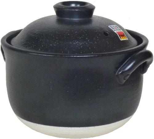 【 昔ながらの ごはん鍋 】 炊飯土鍋 二重蓋 四日市ばんこ焼(日本製) 【 本格派 4合炊 】 送¥0