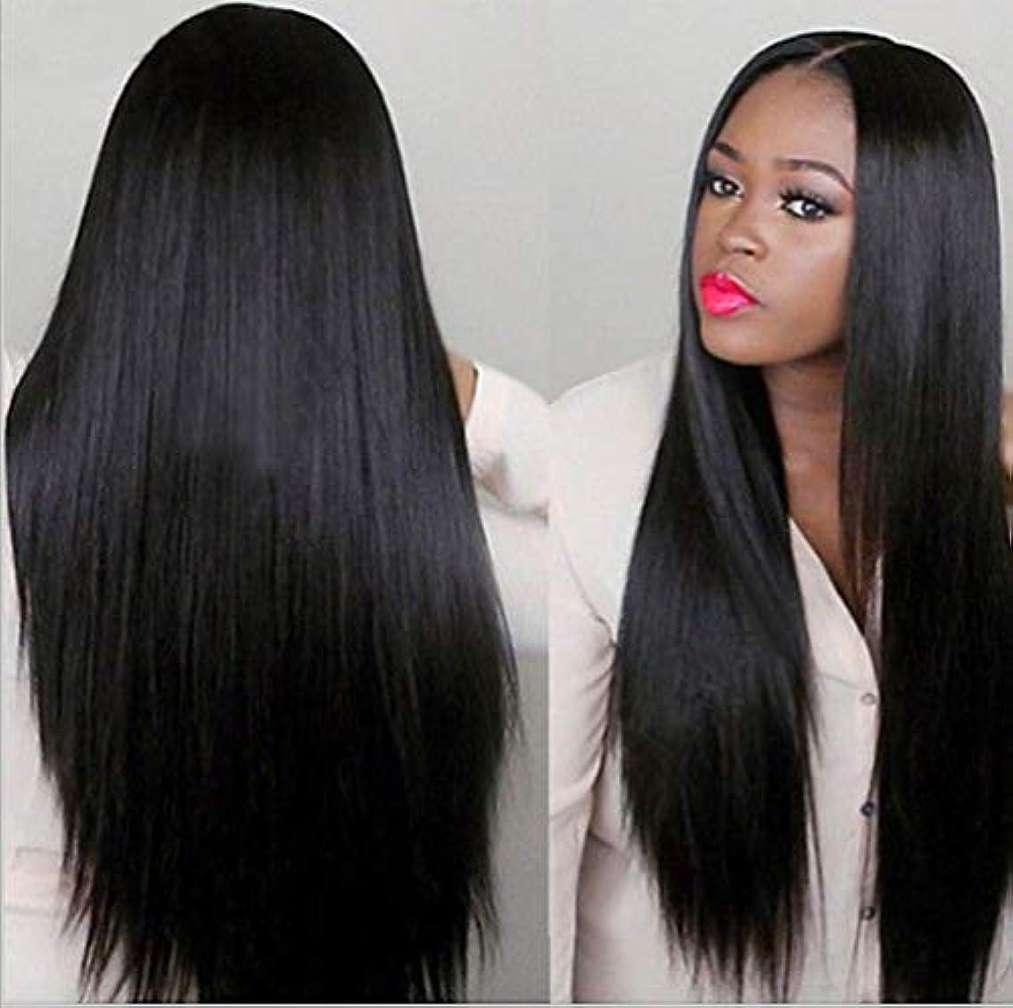 屈辱するバリケード詐欺師女性150%密度ウィッグブラジルレミー人毛ストレートヘアレースウィッグベビーヘア付きブラック70cm
