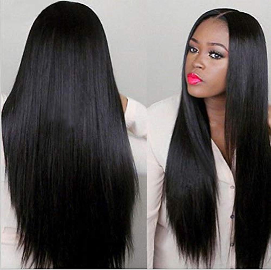 アプライアンス頬骨直感女性150%密度ウィッグブラジルレミー人毛ストレートヘアレースウィッグベビーヘア付きブラック70cm