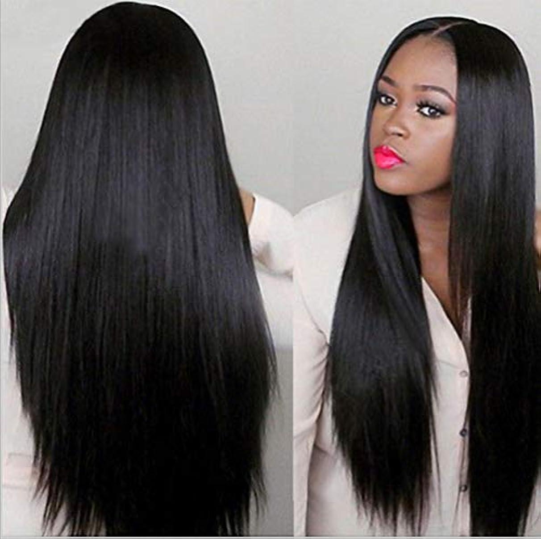 ハンサム一致する該当する女性150%密度ウィッグブラジルレミー人毛ストレートヘアレースウィッグベビーヘア付きブラック70cm