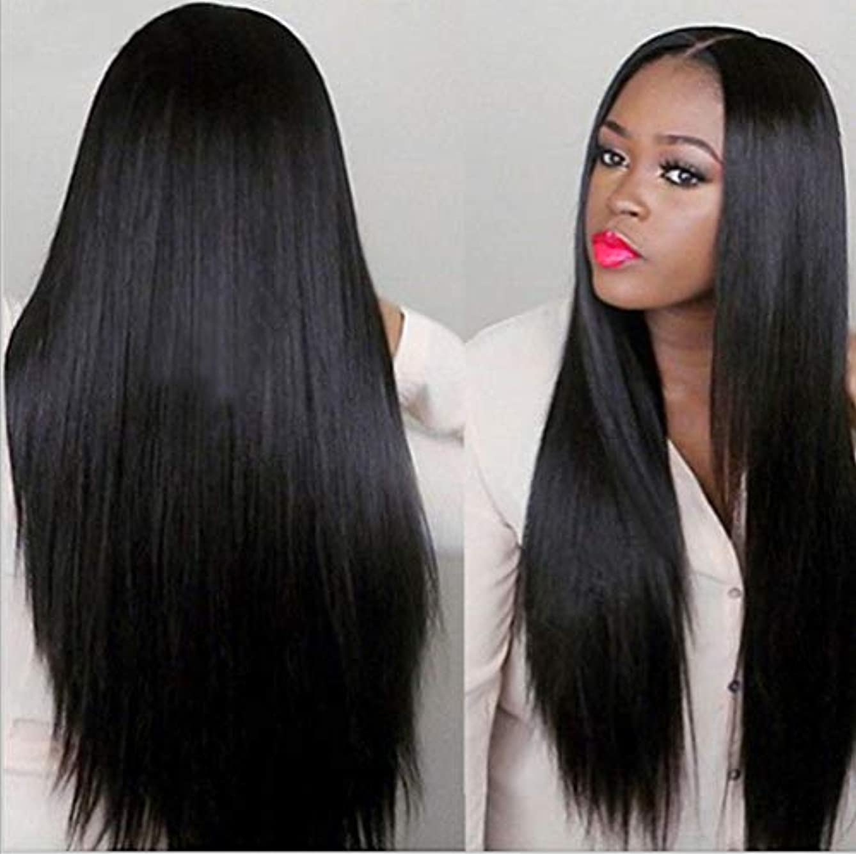 南方の疑問に思う邪魔する女性150%密度ウィッグブラジルレミー人毛ストレートヘアレースウィッグベビーヘア付きブラック70cm