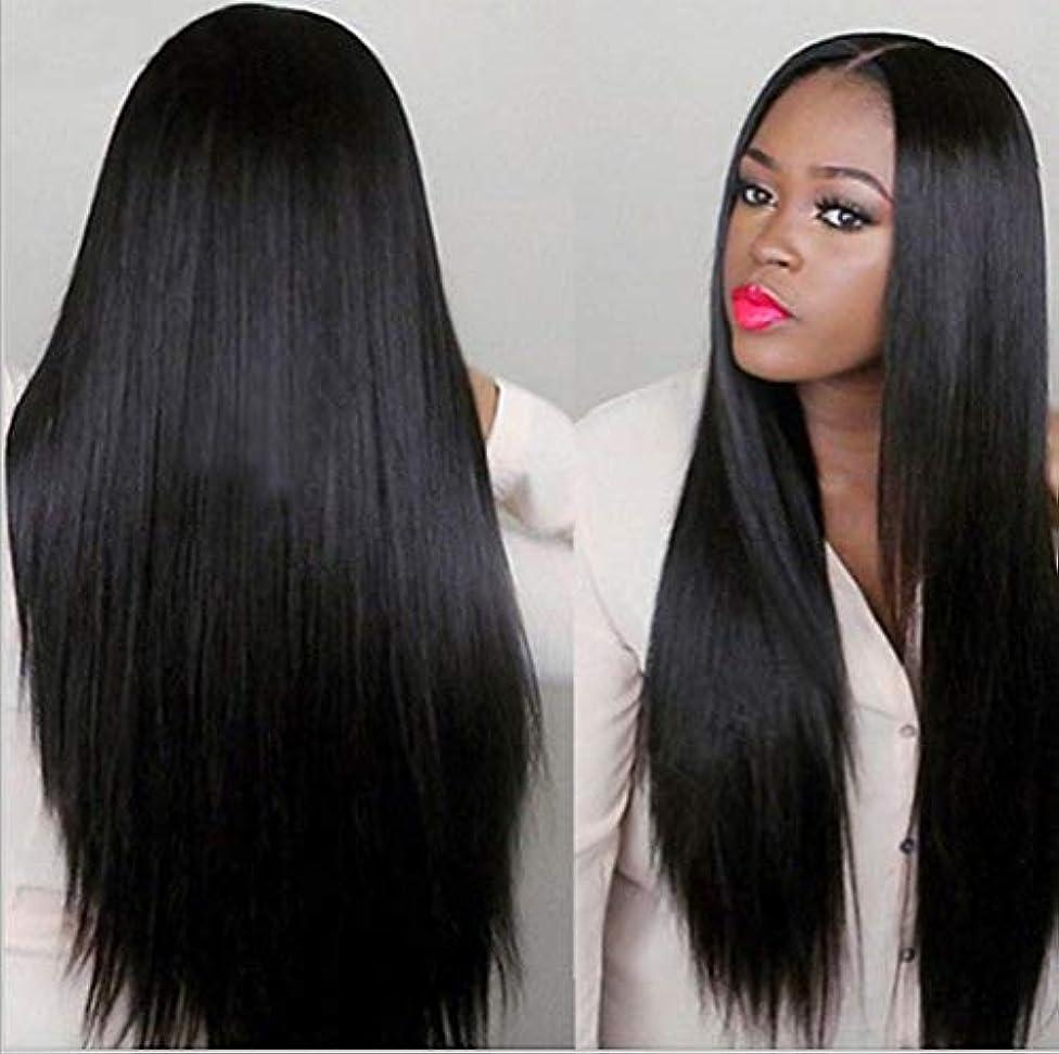 スコア鑑定スーダン女性150%密度ウィッグブラジルレミー人毛ストレートヘアレースウィッグベビーヘア付きブラック70cm