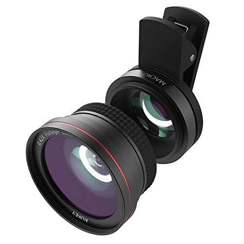AUKEY スマホ カメラレンズキット 2in1 (10×マクロ、180°魚眼レンズ) セルカレンズ クリップ式 iPhone、Samsung、Sony、Android スマートフォン、タプレットなどに対応 PL-F1