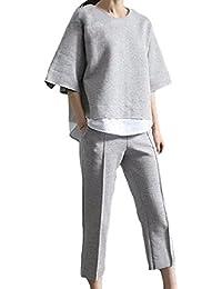 [オチビ] キレイメ カジュアル パンツスーツ レディース 上下 二点セット セットアップ グレー M ~ XXL