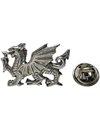 Silver Toned Textured Welsh Dragonラペルピン