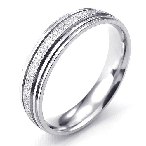 [テメゴ ジュエリー]TEMEGO Jewelry メンズレディースステンレススチールリング、サンドブラスト愛のカップルリング結婚指輪、シルバー[インポート]