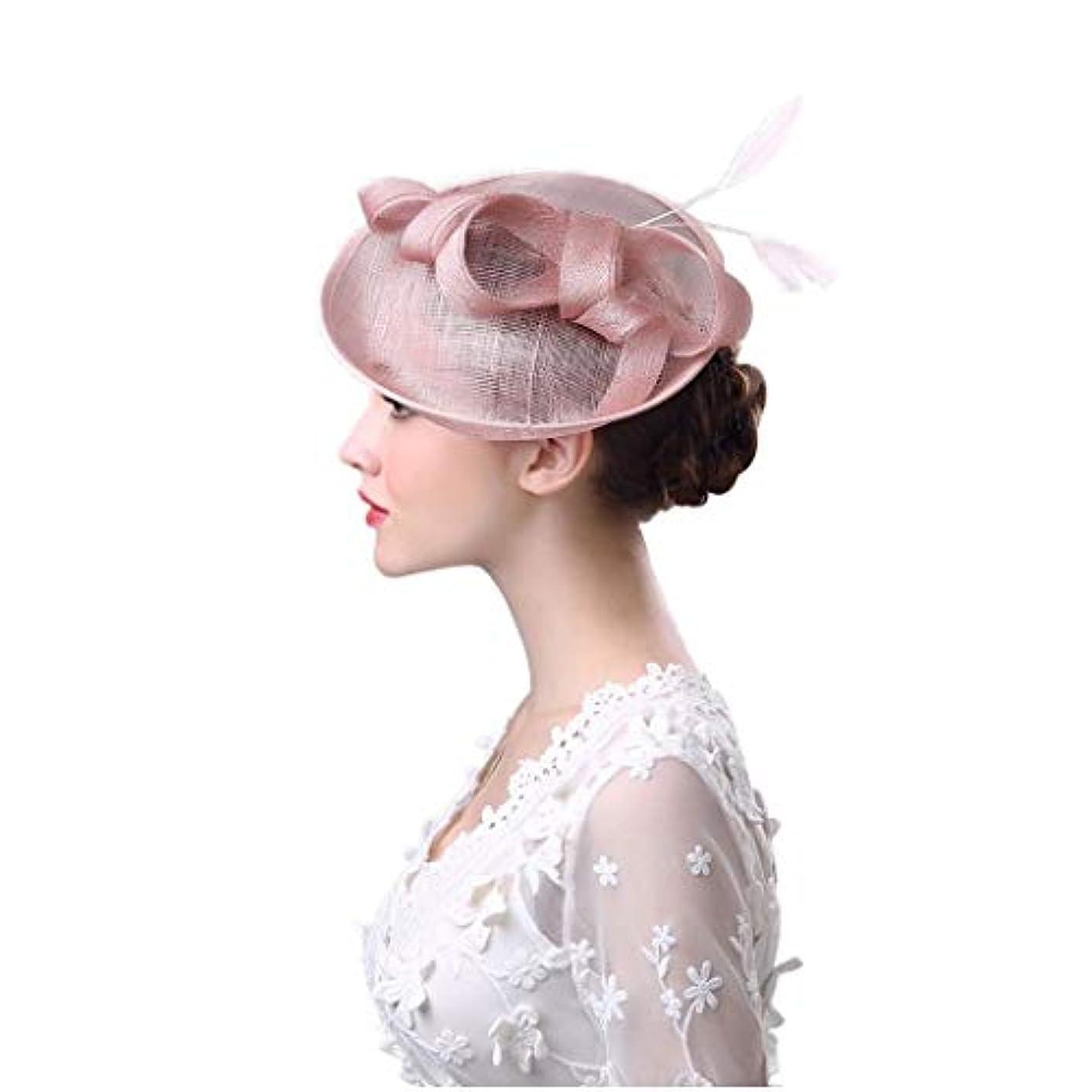 シーンゲスト冗長ブライダルヘッドドレス、ボウフェザーヘッドドレス夏ヨーロッパとアメリカのアウトドアレディース帽子洋風リネン糸宴会花嫁の帽子