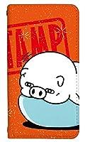 スマホケース 手帳型 ベルトなし l01k ケース 8275-C. オレンジぶたさん_ラインスタンプ L01K ケース 手帳 [V30+ L-01K] ブイサーティープラス LINE ラインスタンプ ヨッシー