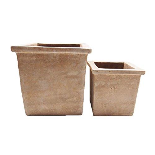 アンティーク調 テラコッタ製 植木鉢 TLポット スクエアー7341 2点セット 外寸L35cm S25cm