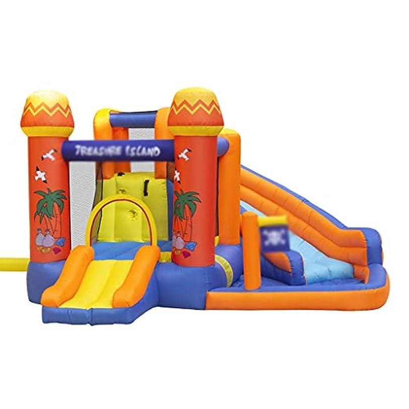 サラミ王位三インフレータブル城 3-12歳ウォーターパーク施設 子供トランポリン アミューズメントパークのスライド 大型屋内バウンスハウス (Color : Orange, Size : 340*340*215cm)