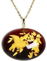 琥珀 ネックレス ペンダントトップ インタリオ バルト産レッドアンバー 赤色 楕円 小鳥 チェーン別売り 商品番号 988