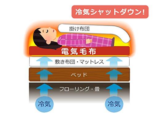 LIFEJOY 洗える 日本製 電気敷き毛布 オレンジ (130×80cm) JBS401