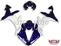 VITCIK (フェアリングキット 対応車種 ヤマハ Yamaha YZF-1000 R1 2004 2005 2006 YZF 1000 R1 04 05 06) プラスチックABS射出成型 完全なオートバイ車体 アフターマーケット車体フレーム 外装パーツセット(ブルー & ホワイト) A067