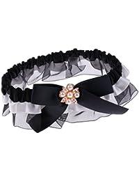 Prettyia レースガーター 結婚式 パール ガーター パーティー アクセサリー おしゃれ ブラック ストッキング