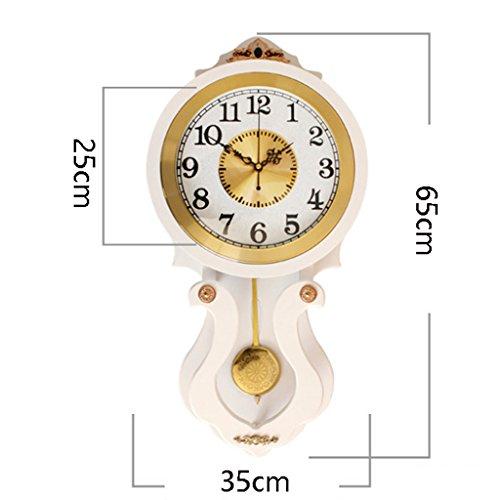ヨーロッパのソリッドウッドの壁時計、クリエイティブリビングルームの壁時計、ベッドルーム静かな銅の装飾クォーツ時計H65cm * W35cm(ホワイト) ( 色 : C )