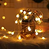 2 x 100 LED Globe String Lights Battery Operated Waterproof, 2 x 49 Ft Fairy String Light 8 Modes Dimmable with Remote Contro