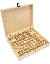 TINKSKY エッセンシャルオイルケース アロマケース 木製 アロマオイルスタンド 精油ボックス 精油収納 仕切りボックス 72本収納