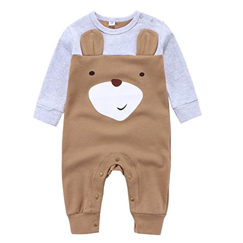 エルフ ベビー(Fairy Baby)新生児服 カバーオールロンパース 肩開き 長袖 春秋用 可愛いクマ模様 茶色 6M
