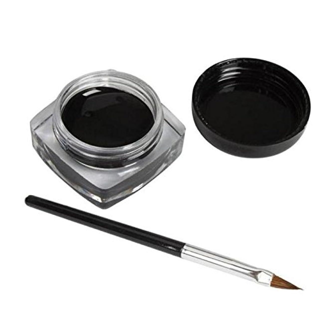 実装する増幅自己尊重2 PCSミニアイライナージェルクリームブラシメイクアップ化粧品ブラックライフ防水