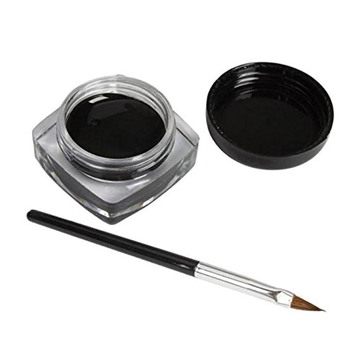 2 PCSミニアイライナージェルクリームブラシメイクアップ化粧品ブラックライフ防水