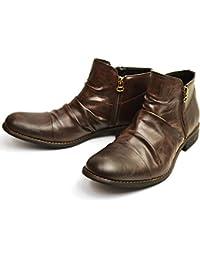 (ジーノ) ZEENO ドレープ ショートブーツ エンジニアブーツ メンズ ブーツ サイドジッパー シューズ 靴 男