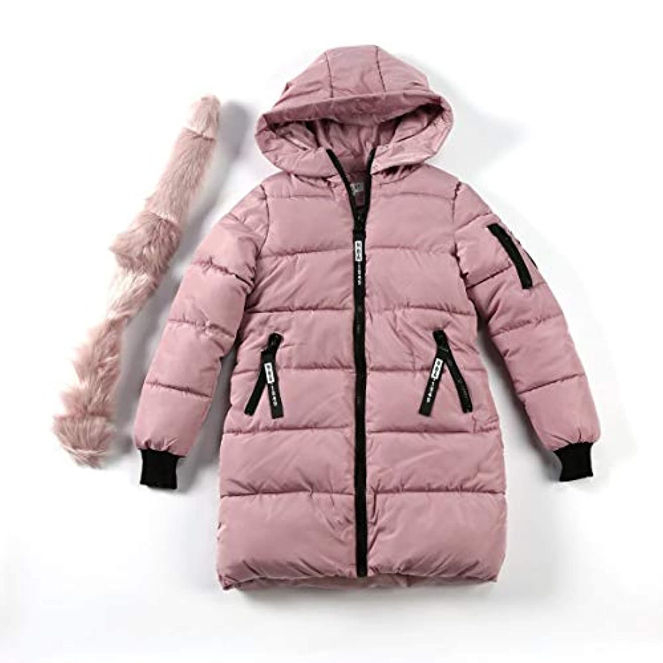 啓発するテレビ局効率韓国スタイルの女性のコートファッションオールマッチフード付きダウンジャケット綿パッド入りの厚く暖かいコートミドルロング冬生き抜くコート-ライトピンクXl