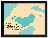 NorthwestアートMall Wilkins湖ミネソタマップFramedアートプリントby lakebound 18x24/20x26 inch LB-20214 NFF-EC