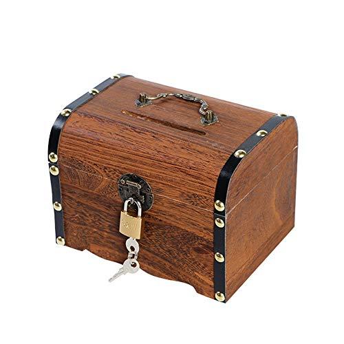 (トーダー)アンティークレトロ 木製 レトロ 宝箱 ジュエリーボックス 木箱 収納箱 貯金箱 ポータブルジュエリーボックス リング収納 上品 おしゃれ 小物入り 撮影道具 お店インテリア 子供の宝箱 鍵付きブラウンM